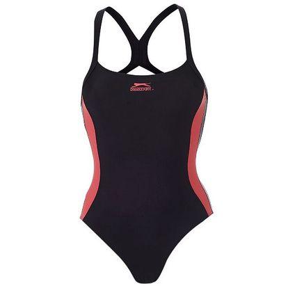 Jednodílné plavky Slazenger černé s růžovým pruhem
