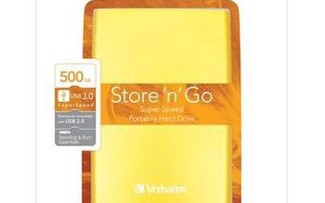 """VERBATIM HDD 2.5"""" 500GB Store 'n' Go USB 3.0/2.0, slunečně žlutá"""