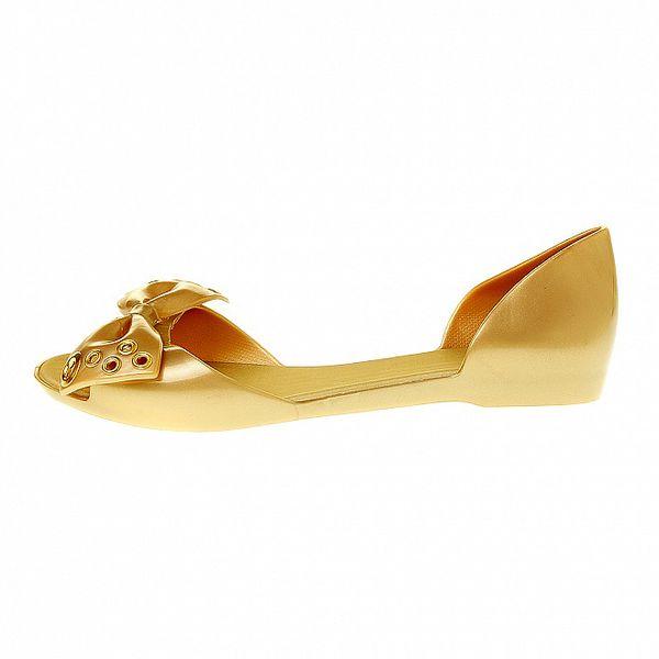Dámské zlaté sandály Mel s pevnou patou a kovovou aplikací