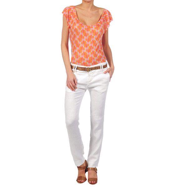 Dámské bílé lněné kalhoty Nolita