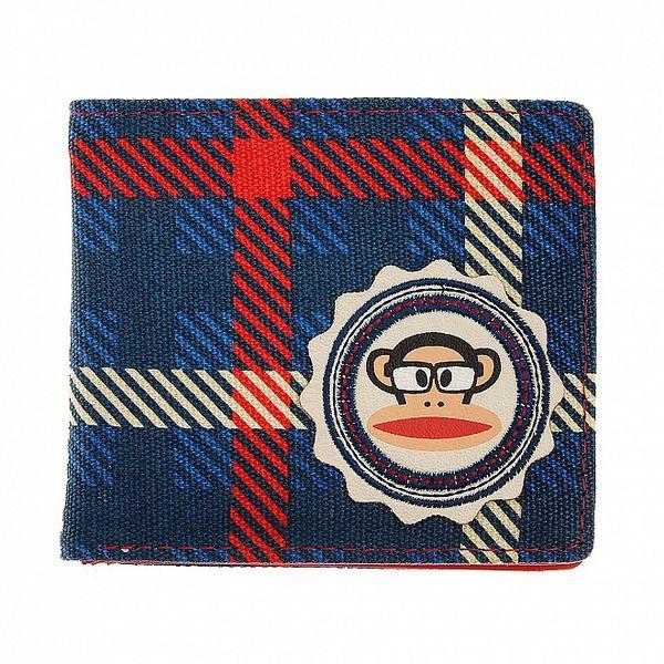 Modrá kostkovaná peněženka Paul Frank
