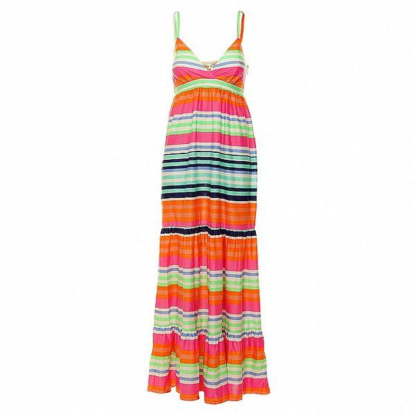 Dámske dlhé duhové prúžkované šaty Uttam Boutique s volánmi