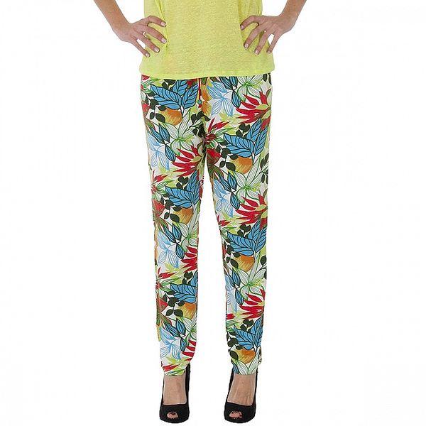 Dámské bílé kalhoty Maria Villoresi s barevným potiskem