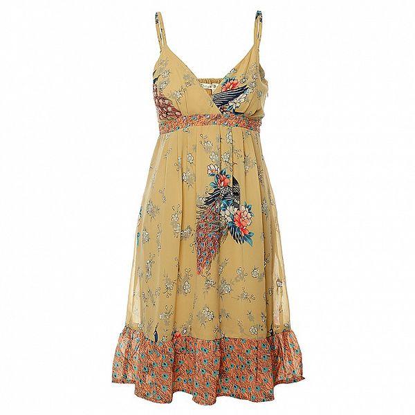 Dámské béžové šaty Uttam Boutique s potiskem