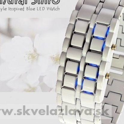 """Unikátne Japonskom inšpirované hodinky """"Iron Samurai Shiro"""" s LED podsvietením za 13,50 € aj s poštovným."""