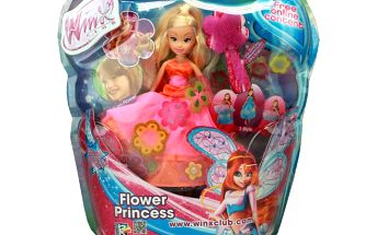 WinX: Flower Princess - hřeben na česání panenky a samolepky květin na vlastní zdobení.