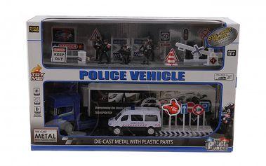 Policejní set - obsahuje kamion, autíčko na pull back, figurky a příslušenství.
