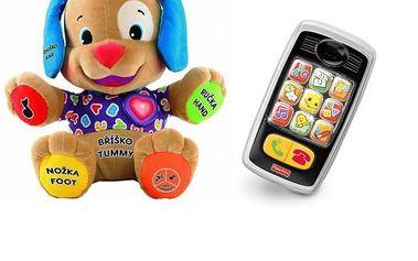 Fisher Price Mluvící pejsek cz/ang + Fisher Price usměvavý chytrý telefon zdarma.