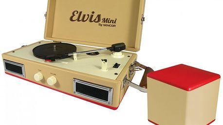 SENCOR STT 017 ELVIS MINI - stylový gramofon na cesty, který má navíc aktivní subwoofer