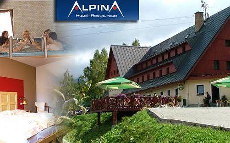 3 denní pobyt v hotelu Alpina Špindlerův Mlýn pro dva s polopenzí jen 100 metrů od lanovky Hromovka. Snídaně, večeře, sauna, bobová dráha a výletní vláček! Super turistické podmínky a fascinující panorama Krkonoš!