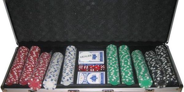 Poker set 500 v hliníkovém kufru bez označení hodnot