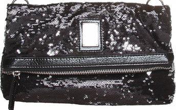 Dámské černé psaníčko s flitry na zip Roccobarocco