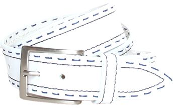 Dámsky biely kožený opasok Roccobarocco s modrým švom