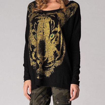 Dámsky čierny sveter Soap Art so zlatou potlačou