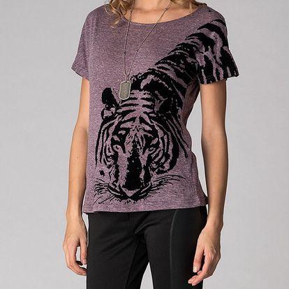 Dámské fialové tričko Soap Art s tygrem