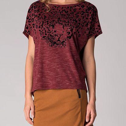 Dámské vínové tričko Soap Art s gepardem