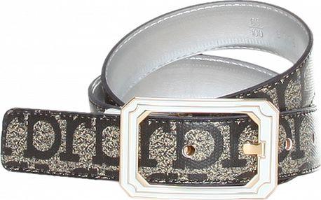 Dámsky čierno-šedý opasok Roccobarocco s potlačou značky