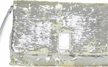 Dámské stříbrné psaníčko s flitry na zip Roccobarocco