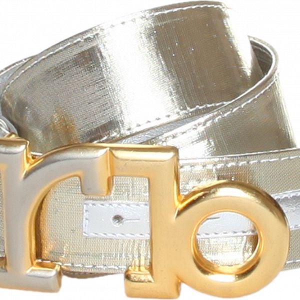 Dámsky platinový opasok Roccobarocco so zlatými detailami