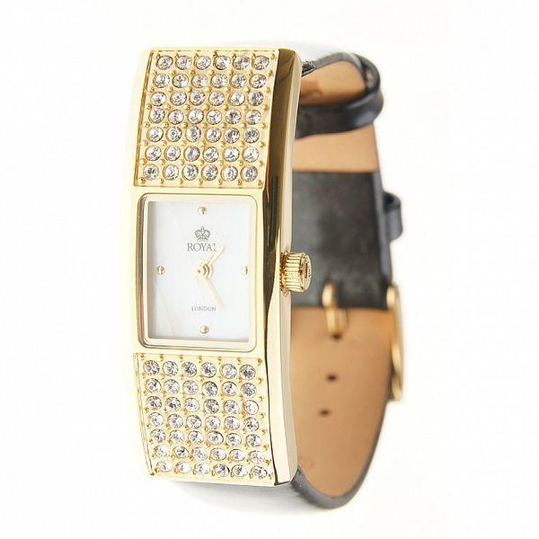 Dámske zlaté hodinky Royal London s čiernym remienkom a kryštálmi