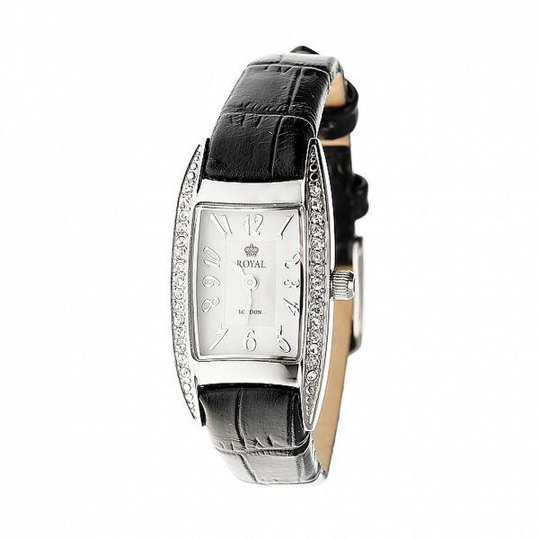 Dámske strieborné hodinky Royal London s čiernym remienkom a kryštálmi