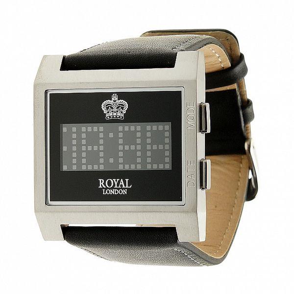 Hranaté čierno-strieborné digitálne hodinky Royal London