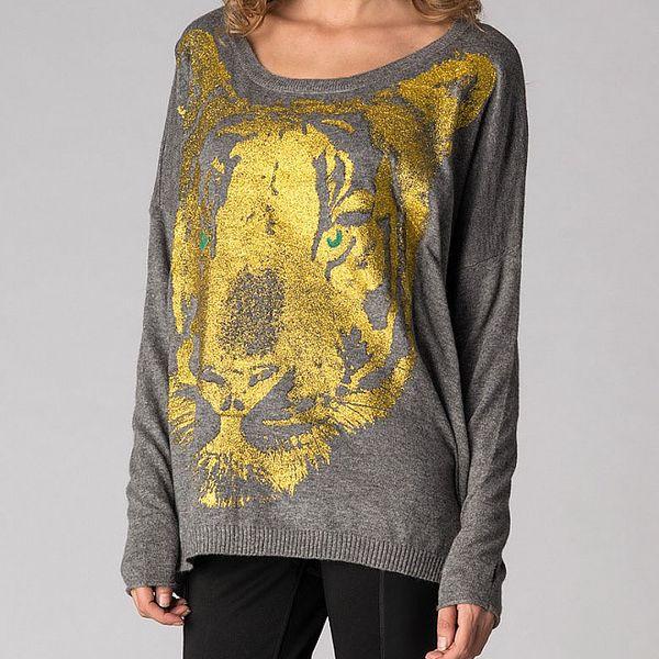Dámsky šedý sveter Soap Art so zlatou potlačou