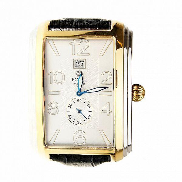 Pánske zlaté hodinky Royal London s čiernym remienkom