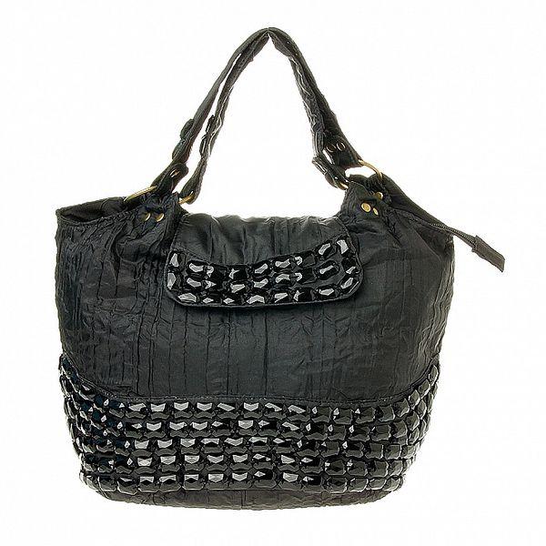 Dámska čierna bavlnená kabelka Luna Llena s korálkami