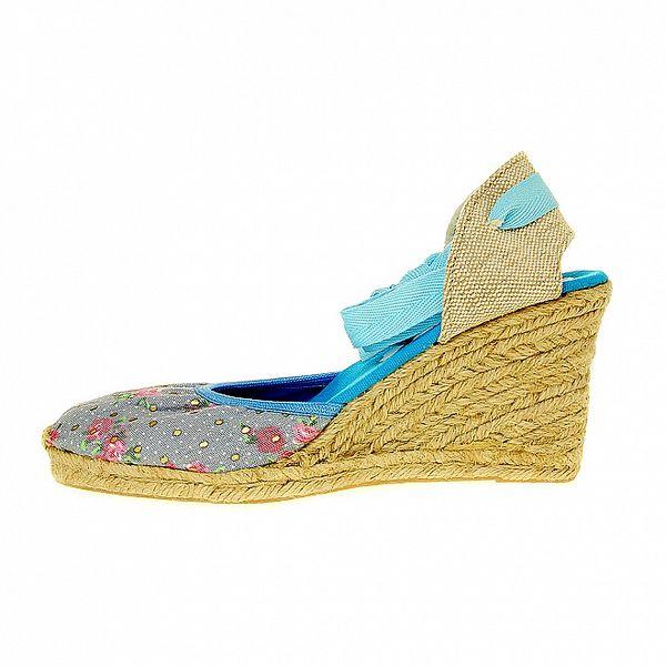 Dámské světle modré textilní sandály Luna Llena s jutovým klínkem