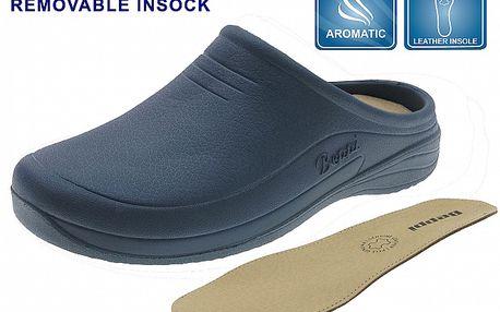 Dámske tmavo modré gumové papuče Beppi s koženou stielkou