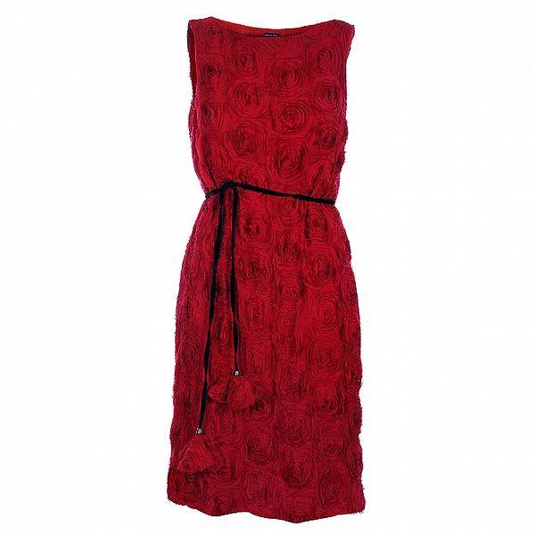 Dámské červené koktejlové šaty Pietro Filipi s růžemi