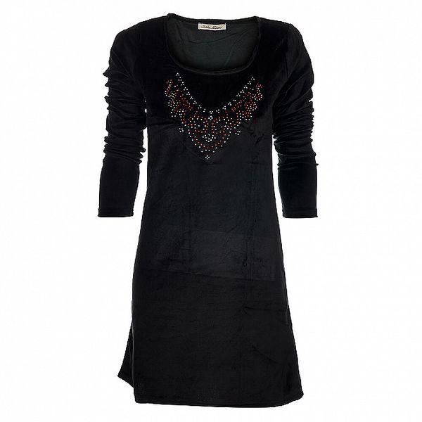 Dámské černé sametové šaty Snake Milano s barevnými kamínky