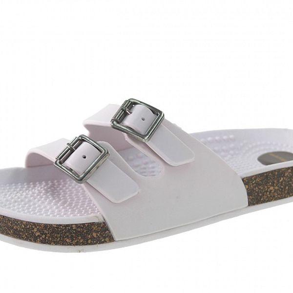 Dámske biele papuče Beppi s masážnou stielkou