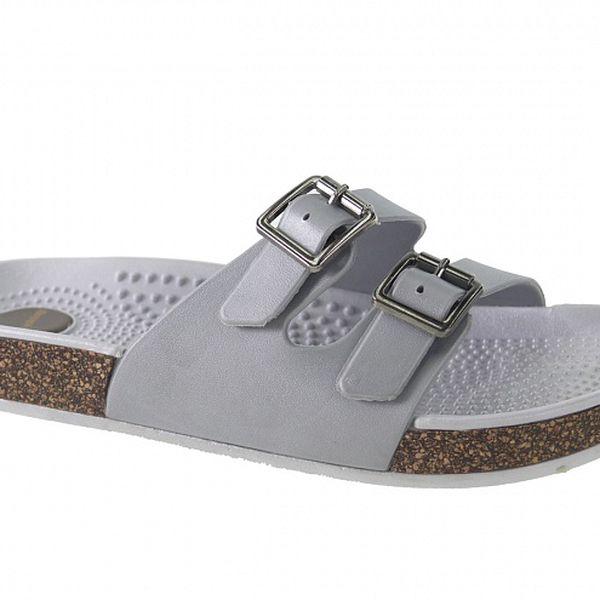 Dámske šedé papuče Beppi s masážnou stielkou