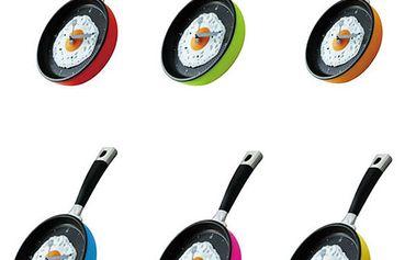Kuchyňské nástěnné hodiny s motivem pánvičky v 6 barevných provedeních a poštovné ZDARMA! - 448