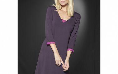 Dámska tmavo fialová nočná košeľa After Eden s ružovou čipkou