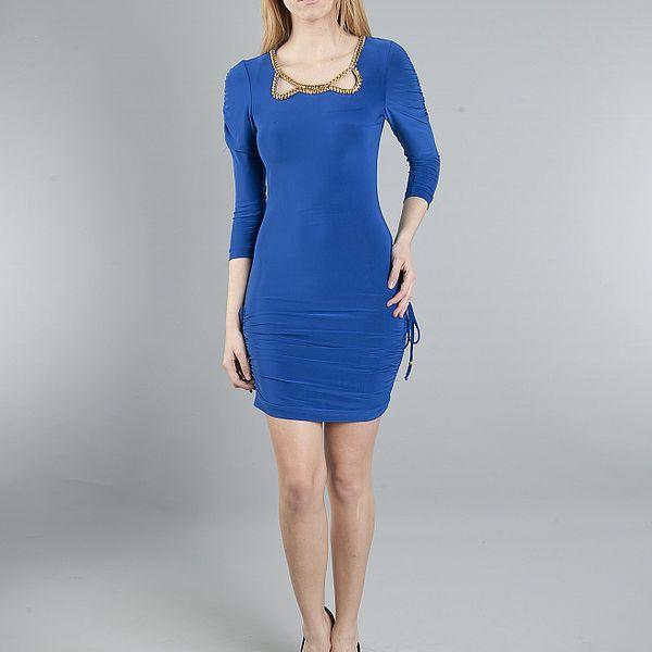Dámske žiarivé modré šaty Via Bellucci so zlatými korálkami