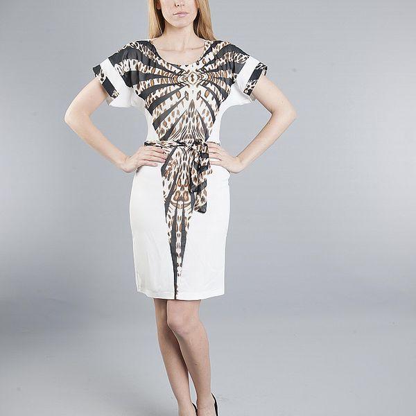 Dámske biele šaty Via Bellucci s leopardím vzorom