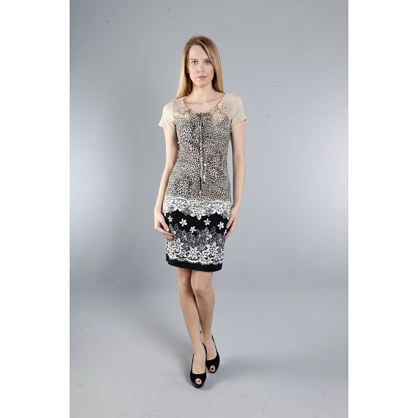 Dámske čierno-béžové šaty Via Bellucci s potlačou
