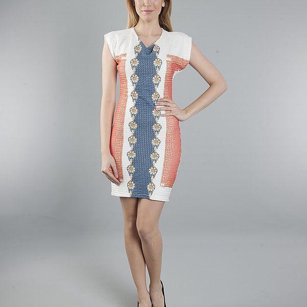 Dámske bielo-modro-červené šaty Via Belluci s antickým motívom