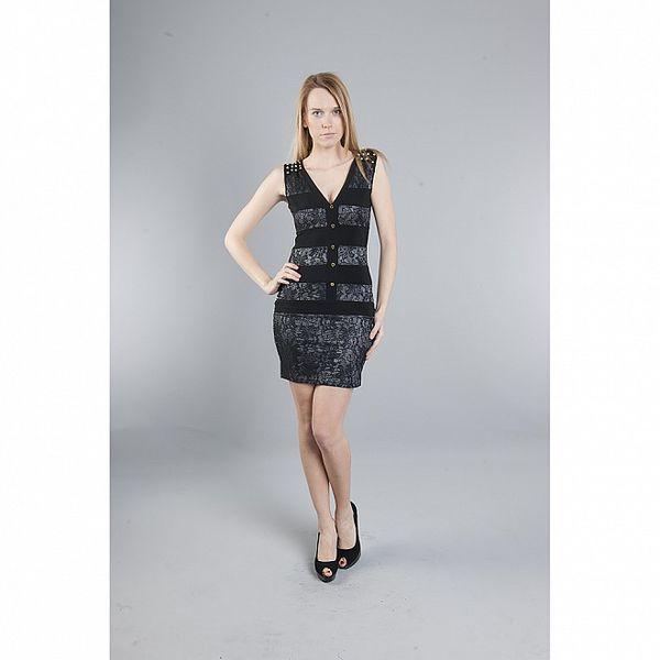 Dámské černé krajkové šaty Via Bellucci se zlatými cvoky