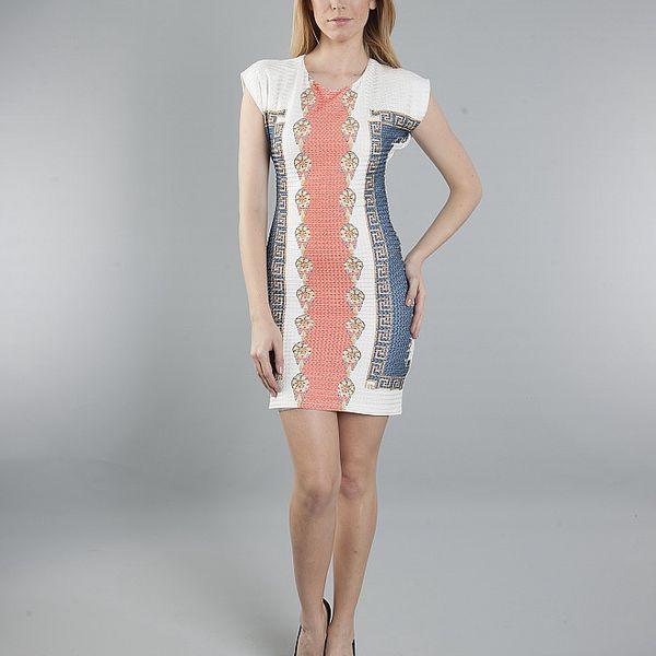 Dámske bielo-červeno-modré šaty Via Belluci s antickým motívom