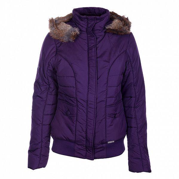 Dámská tmavě fialová zimní bunda Loap s kožíškem