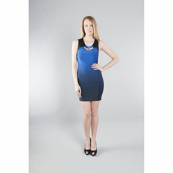 Dámské modré šaty Via Bellucci se zlatým řetízkem