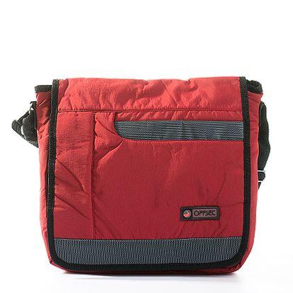 Červeno-šedá crossbody taška