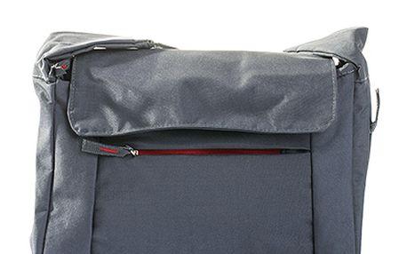 Šedo-červená menší taška přes rameno