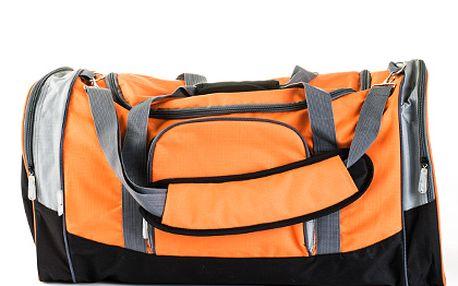Velká oranžovo-šedá sportovní taška