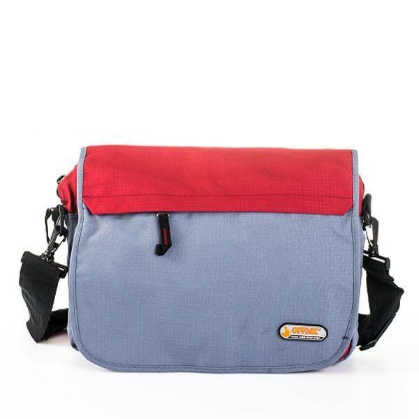 Červeno-šedá taška přes rameno