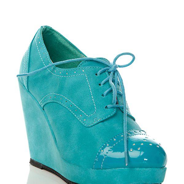 Elegantní boty na klínku FOLI FOLIO - modré
